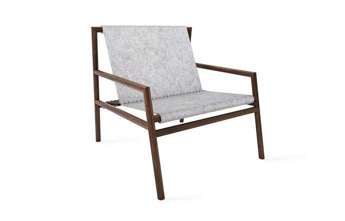 Gallagher Lounge Chair by Tronk Design - Walnut Wood Frame/Grey Felt Fabric Seat.