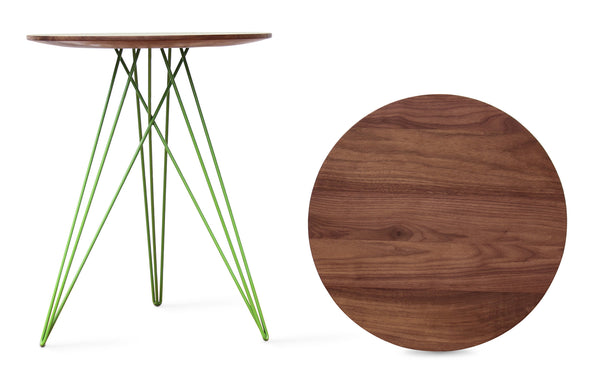 Hudson Side Table by Tronk Design - Walnut Wood, Green Powder Coated Steel.