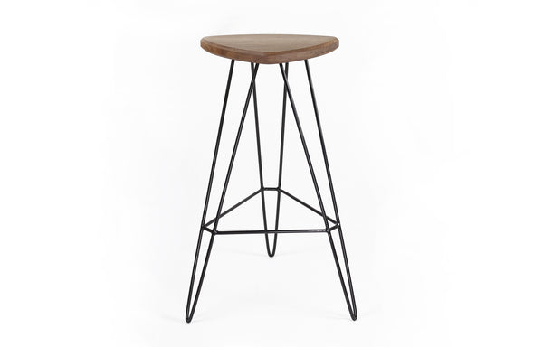 Madison Bar Stool by Tronk Design - Walnut Wood, Black Powder Coated Steel.