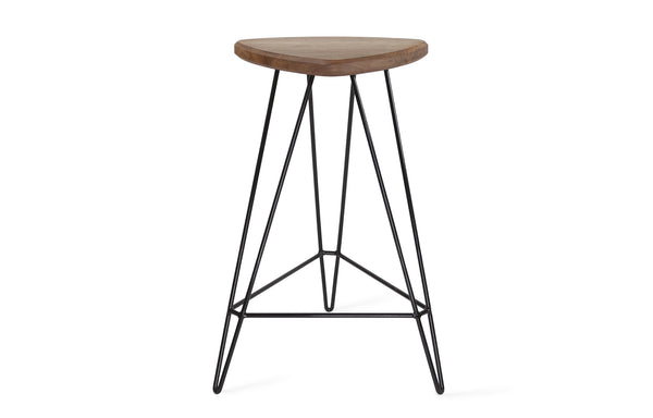 Madison Counter Stool by Tronk Design - Walnut Wood, Black Powder Coated Steel.