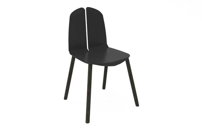 Noa Chair by Tronk Design - Black Powder Coated Steel Seat, Black Painted Oak Legs.