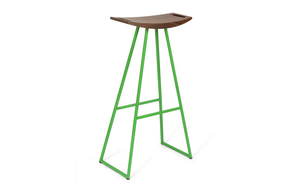 Roberts Bar Stool by Tronk Design - Walnut Wood, Green Powder Coated Steel.