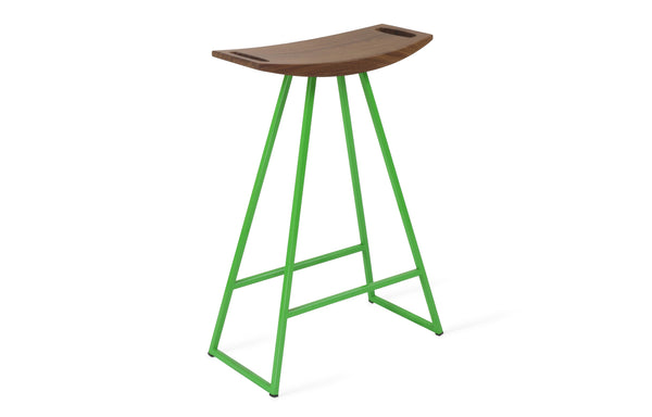 Roberts Counter Stool by Tronk Design - Walnut Wood, Green Powder Coated Steel.