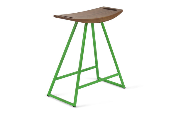 Roberts Table Stool by Tronk Design - Walnut Wood, Green Powder Coated Steel.
