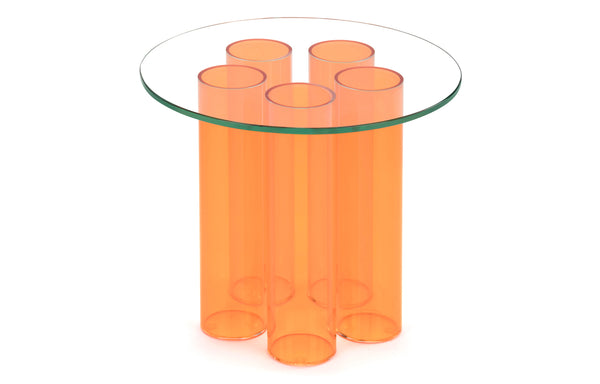 Tubular Occasional Table by m.a.d. - Orange Acrylic Base with Clear Glass Top.