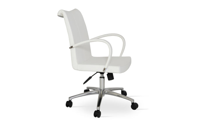 Tulip Office Arm Chair by SohoConept - Aluminium, White PPM.