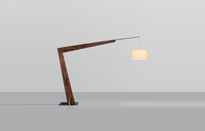 Valeo Floor Lamp by Cerno - Brushed Aluminum Metal, Walnut Wood, White Linen Shade.