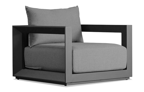 Vaucluse Arm Chair by Harbour - Sunbrella Cast Slate/Powder Coated Aluminum Asteroid.