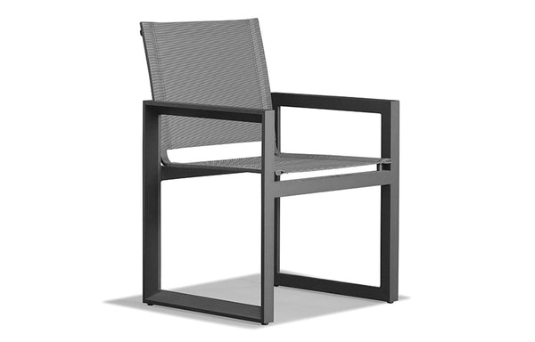 Vaucluse Dining Chair by Harbour - Asteroid Aluminum + Batyline Silver.