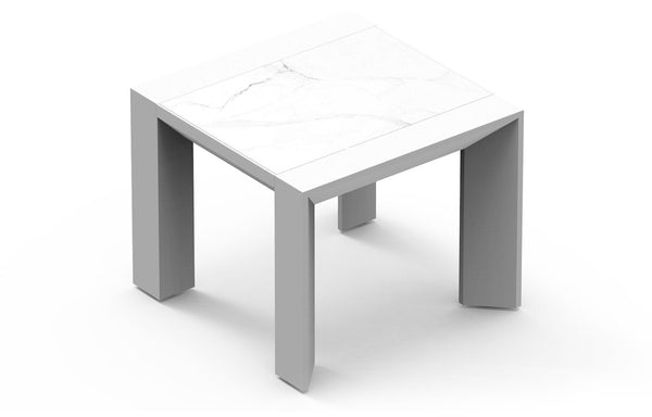 Vaucluse Side Table by Harbour - Ceramic Bianco/Powder Coated Aluminum White.