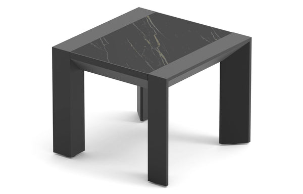 Vaucluse Side Table by Harbour - Asteroid Aluminum + Laminam Noir.