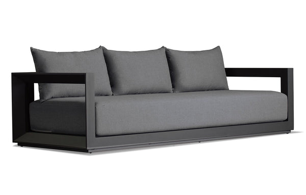 Vaucluse Three Seat Sofa by Harbour - Sunbrella Cast Slate/Powder Coated Aluminum Asteroid.
