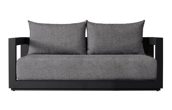 Vaucluse Two Seat Sofa by Harbour - Asteroid Aluminum + Batyline Silver/Sunbrella Cast Slate.