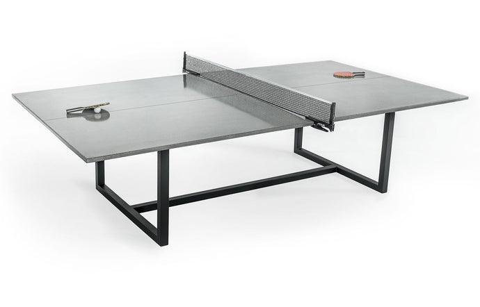James De Wulf Vue Ping Pong Table by De Wulf - Natural Tone Concrete/ Black Powder Coated Steel.