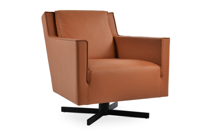 Washington Swivel Arm Chair by SohoConcept - Caramel Genuine Leather