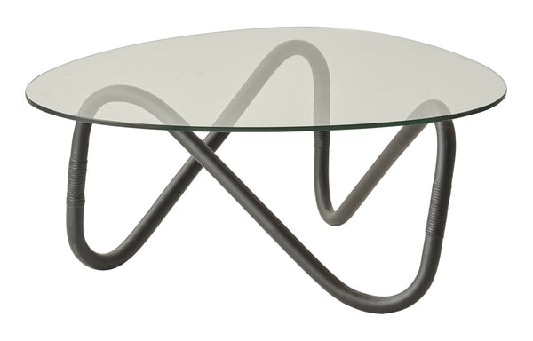 Wave Indoor Large Glass Coffee Table by Cane-Line - Black Rattan Base/Safety Clear Glass.