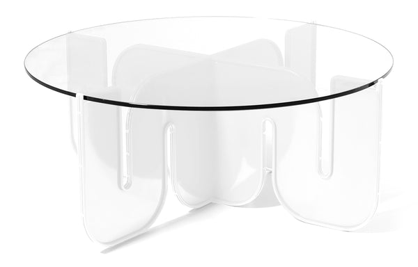 Wave Table by Bend - Clear Glass Top, White Base.