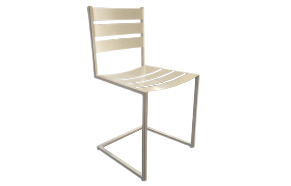 James De Wulf White Dining Chair by De Wulf - Steel and Solid Brass.