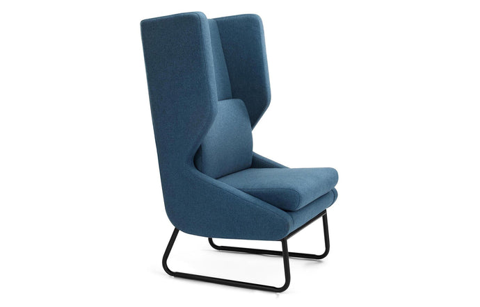 Wing Lounge Chair by m.a.d. - Black Steel Base with Dark Blue Fabric Seat.