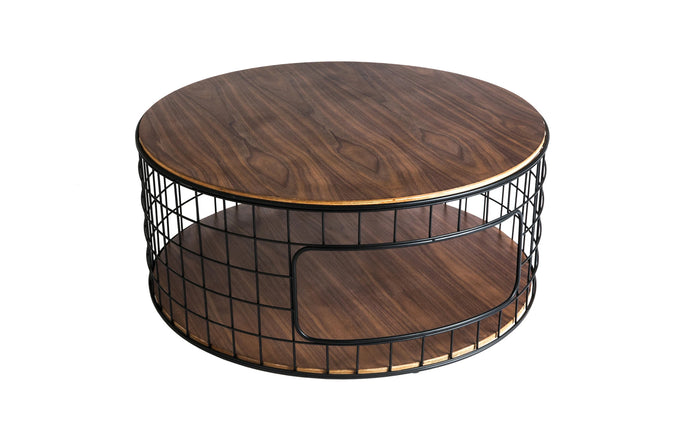 Wireframe Coffee Table by Gus Modern - Black Powder Coat with Walnut.