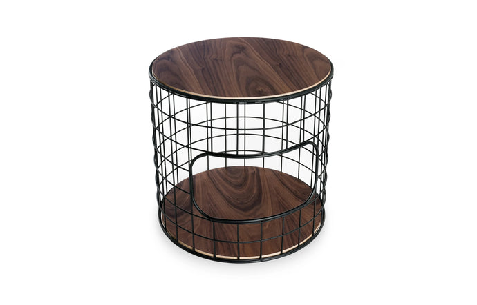 Wireframe End Table by Gus Modern - Black Powder Coat with Walnut.