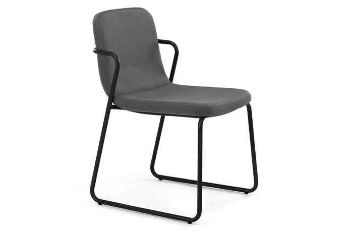 Zag Dining Chair m.a.d. - Black Steel Base with Lead Grey Fabric Seat.