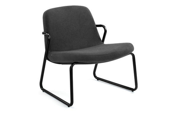 Zag Lounge Chair by m.a.d. - Black Steel Base with Lead Grey Fabric Seat.