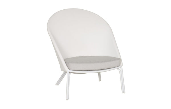Zupy High Back Chair by Mamagreen - White Powder Coated Aluminum, White Batyline Lounge, White Sunbrella Cushion.