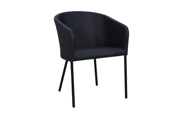 Zupy Monocolor Batyline Lounge Dining Chair by Mamagreen - Black Powder Coated Aluminum, Black Batyline Lounge.