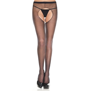 Basic panty Met Open Kruis - Zwart-Kousen-Purple Pleasure People