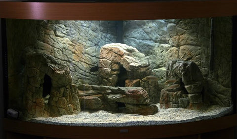 Image of Jungle Bob 3D Aquarium Background 48x21 Inch For 55/75 Gallon Thin Beige 7797