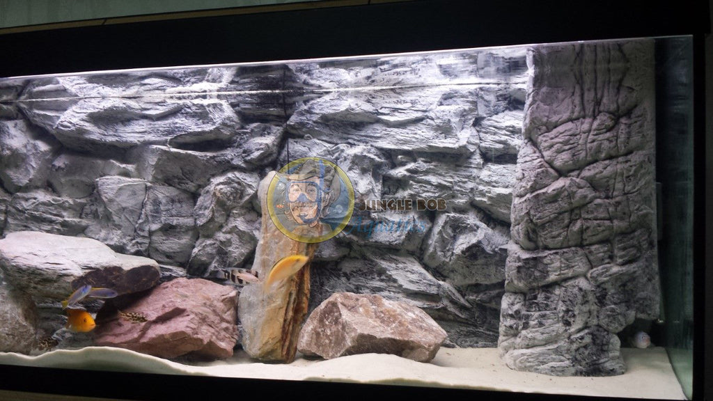 Jungle Bob 3D Aquarium Background 48X13 Inch For 33 Gallon Rock Grey 7872