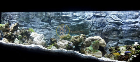 Jungle Bob 3D Aquarium Background 72x23 Inch For 125 Gallon Rock Grey 7882