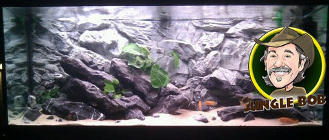 Jungle Bob 3D Aquarium Background 24x12 Inch For Aquarium 15 Gallon Rock Grey 7841