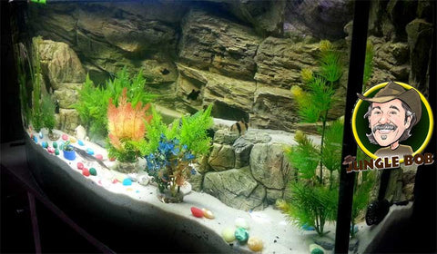 Image of Jungle Bob 3D Aquarium Background 48x21 Inch For 55/75 Gallon Beige Rock 7830