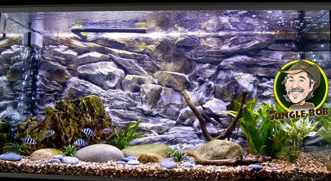 Jungle Bob 3D Aquarium Background 30x18 Inch For Aquarium 29 Gallon Rock Grey 7844