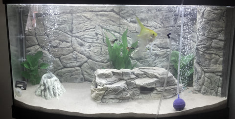 Image of Jungle Bob 3D Aquarium Background 36X16 Inch For 30 Gallon High Thin Grey 8290
