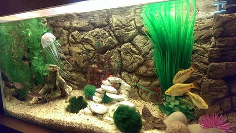 Image of Jungle Bob 3D Aquarium Background 36x16 Inch For 30 Gallon High Thin Beige 7786