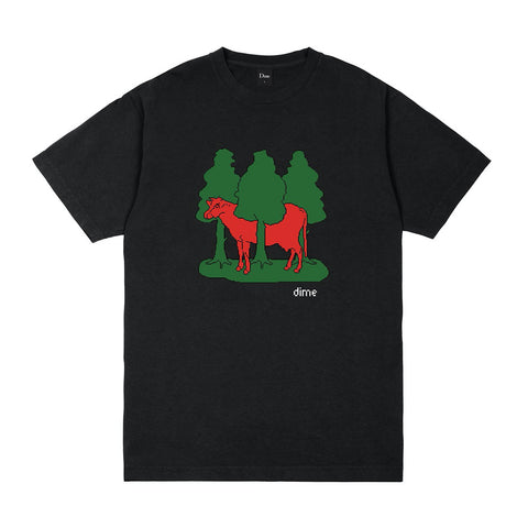 dime forest cow tee (black)