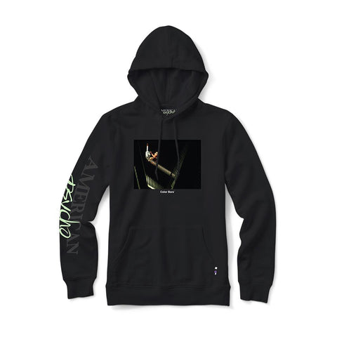color bars x american psycho chainsaw hood (black)