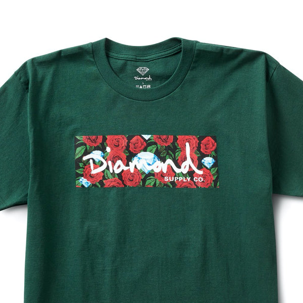 diamond roses box logo tee (green)