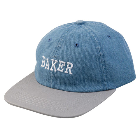 baker ribbon snapback cap (denim/grey)