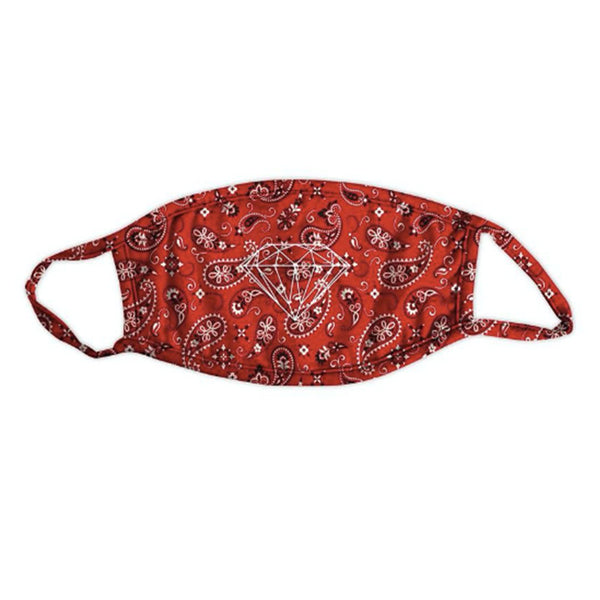 diamond bandana face mask (red)