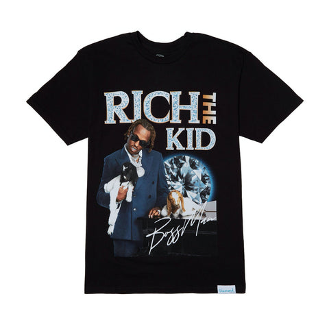diamond x rich the kid boss man tee (black)