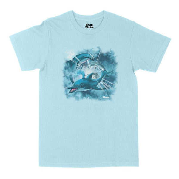 skate mental dolphins tee (chambray)