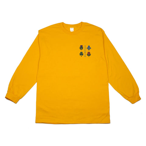 studio coat of arms long sleeve tee (gold)