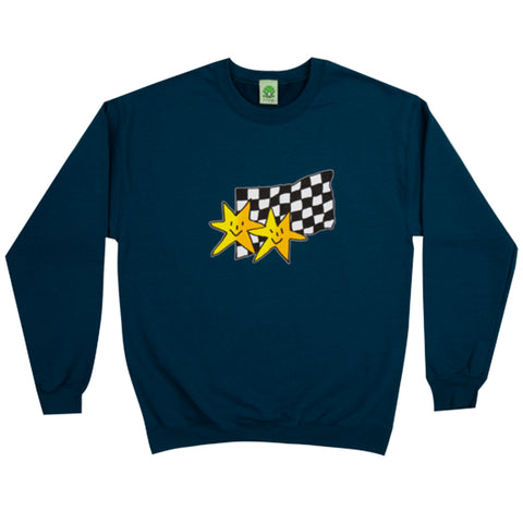frog stars crew neck (teal)
