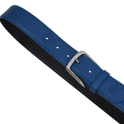 bronze b logo embossed leather belt (blue)