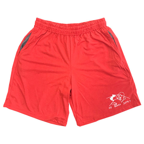 oss wolf bite warm up shorts (red)