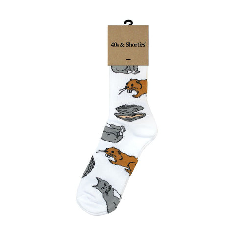 40's & shorties pussy beaver clam socks (white)
